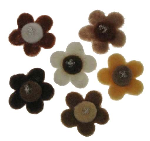 19d186cfbdbc Handmade Felt Bead Flowers (browns beige ref.22)